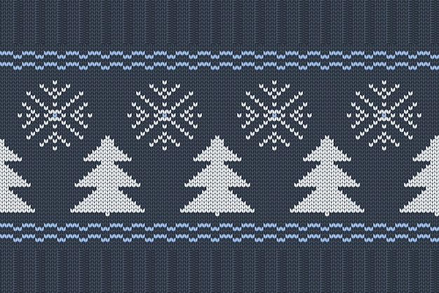 Vector seamless nordic knitting pattern nei colori blu, bianchi con fiocchi di neve e alberi di natale. maglione natalizio e invernale design con elastico. lavoro a maglia semplice e a coste.
