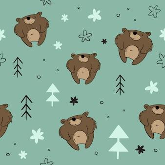 Vector seamless, orso nella foresta, abete rosso. disegnati a mano, cartoni animati, stili scandinavi