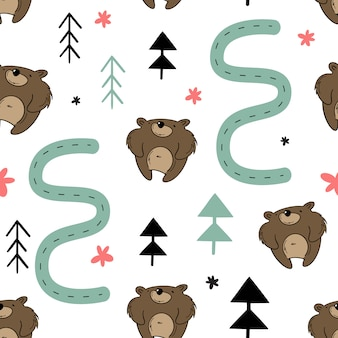 Vector seamless, orso nella foresta.