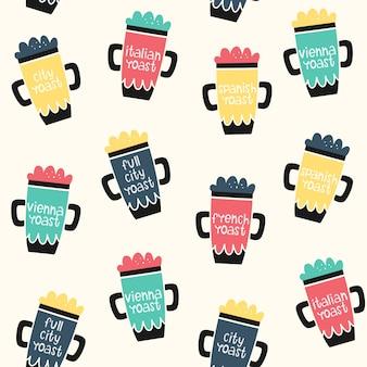 Vector seamless pattern di caffè. oggetti e grado di tostatura.