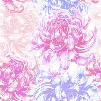 Vector seamless pattern floreale con fiori di crisantemo.