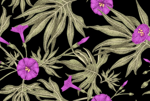 Vector seamless pattern floreale in stile vintage.