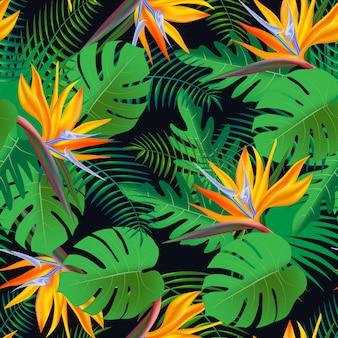 Vector seamless pattern tropicale, vivido fogliame tropicale, con monstera, foglie di palma, fiori esotici