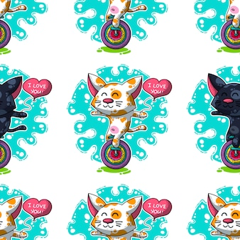 Vector seamless su cats in amore