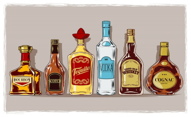 Vector serie di bottiglie con alcol e stemware