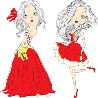 Vector set belle ragazze di moda in abiti rossi