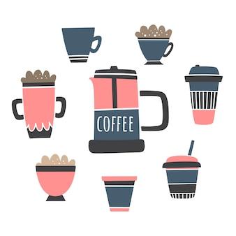 Vector set con bevande al caffè e stampa francese. latte, americano, espresso, cappuccino, mochaccino.