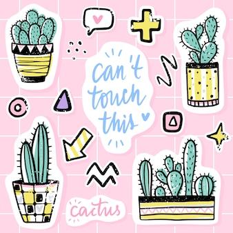 Vector set con cactus, frasi positive, elementi. cactus vettoriale carino