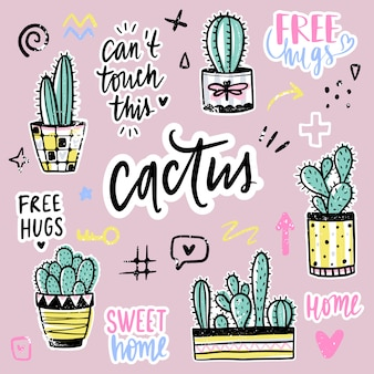 Vector set con cactus, frasi positive, elementi.