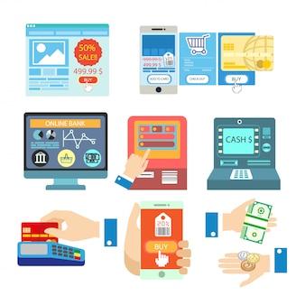 Vector set con pagamento online.