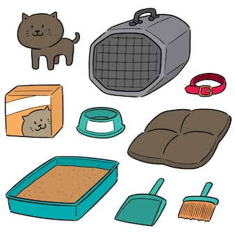 Vector set di accessori per gatti