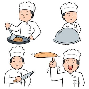 Vector set di chef