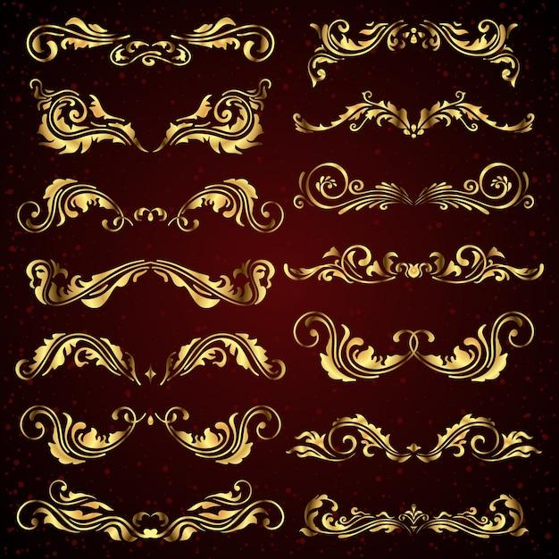 Vector set di elementi calligrafici oro