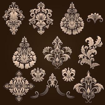 Vector set di elementi ornamentali damascati. elementi astratti floreali eleganti per il design. perfetto per inviti, carte ecc.