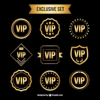 Vector set di golden vip badges