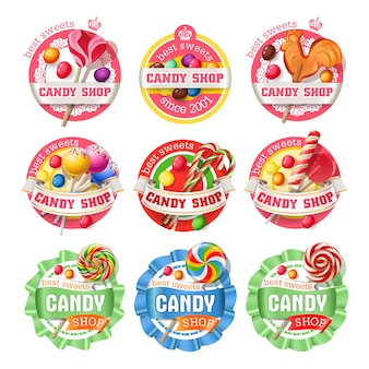Vector set di loghi lollipop, adesivi
