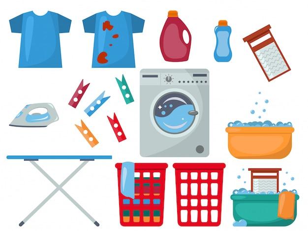 Vector set di oggetti di lavanderia.
