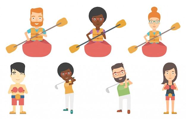 Vector set di personaggi sportivi.