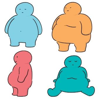 Vector set di persone grasse