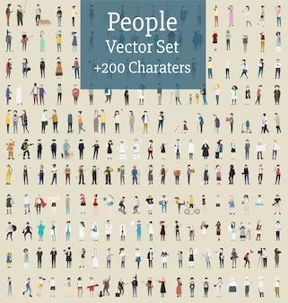 Vector set di persone illustrate