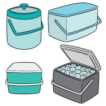 Vector set di secchiello per il ghiaccio