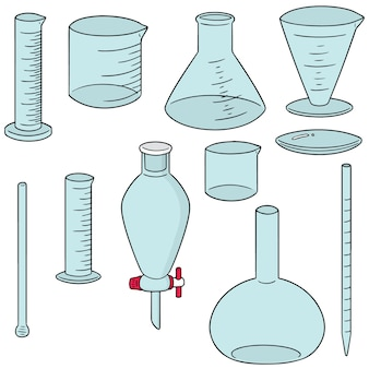 Vector set di vetreria di laboratorio