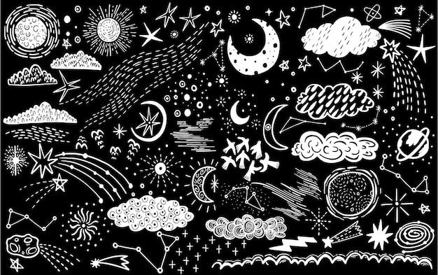Vector set schizzo disegnato con lo spazio