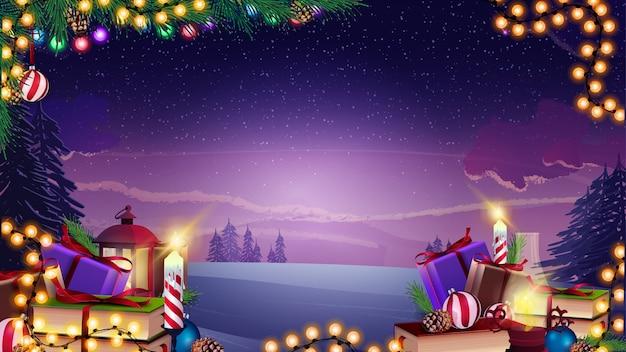 Vector sfondo di natale con ghirlanda, rami di natale e regali sul paesaggio invernale