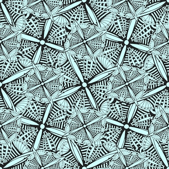 Vector sfondo ornamentale con fiori grafici doodle. modello etnico nero e bianco senza soluzione di continuità per tessuto, tessile