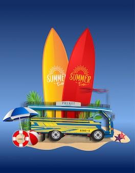Vector summer beach party flyer design con furgone e tavola da surf