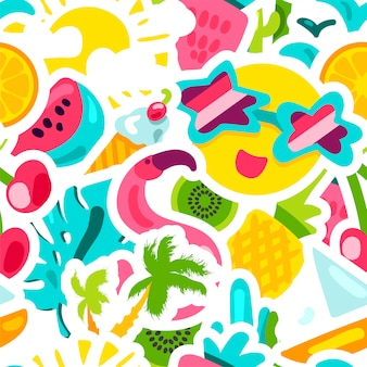 Vector tropical summer seamless pattern