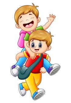 Vector un'illustrazione di due bambini di scuola che vanno a scuola
