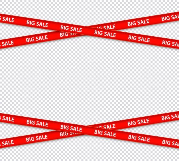 Vector vendita restrizione strisce rosse, zona di sconto
