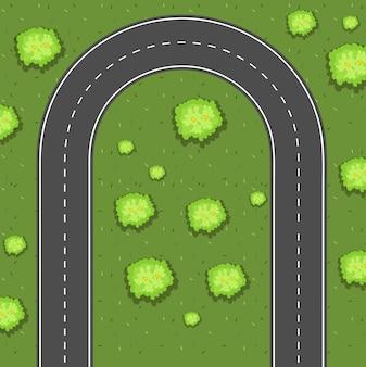 Veduta aerea della strada a svolta