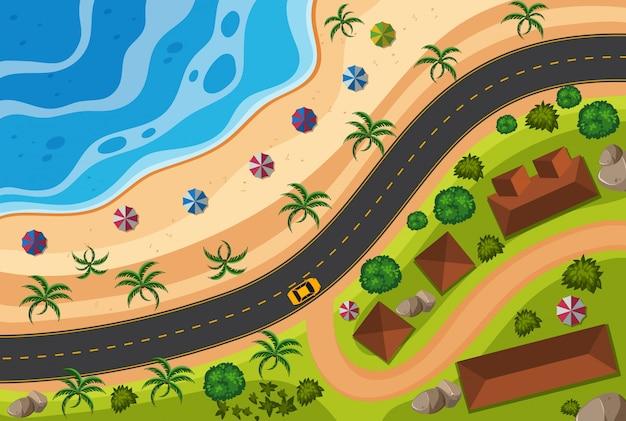 Veduta aerea della strada lungo la spiaggia