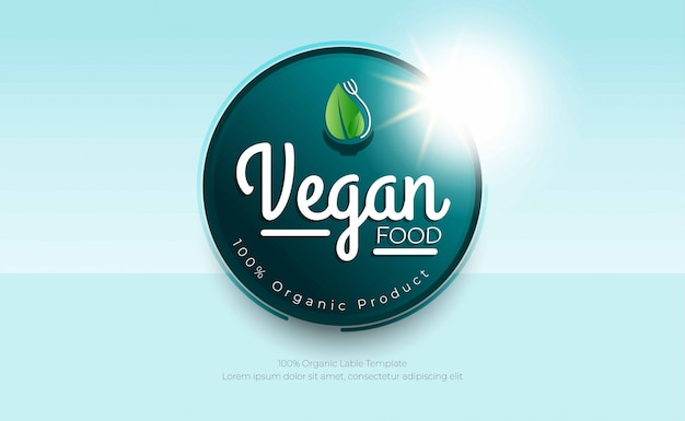 Vegan logo food 100% biologico