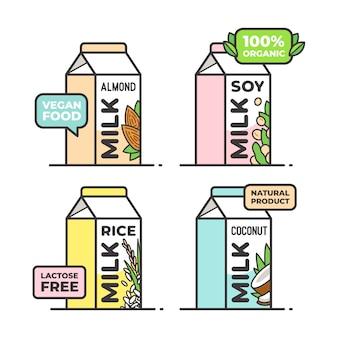 Vegano, latte vegetariano. mandorle, riso, cocco, semi di soia. alimenti e bevande vegetali. senza lattosio.