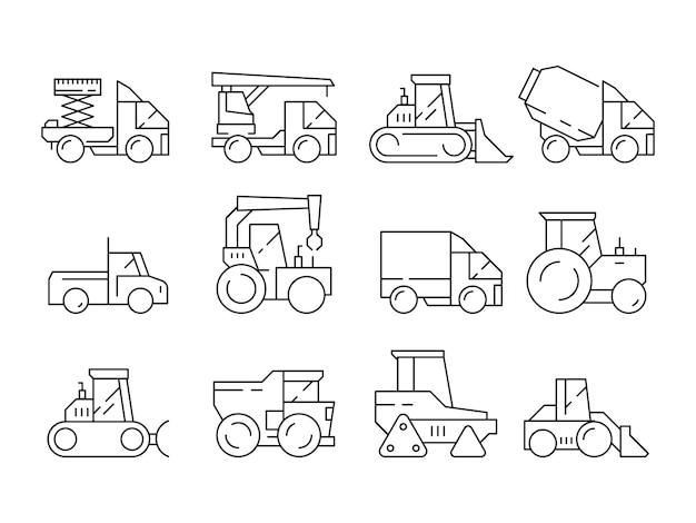 Veicoli da costruzione. macchinario pesante per i camion dei costruttori che sollevano i simboli lineari del bulldozer della gru isolati