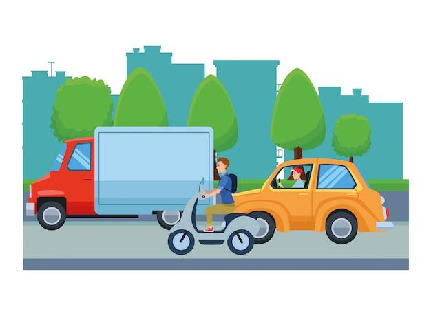 Veicoli e moto con guidatori in sella