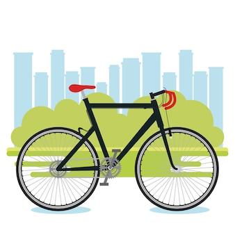 Veicolo della bicicletta con sfondo di paesaggio urbano