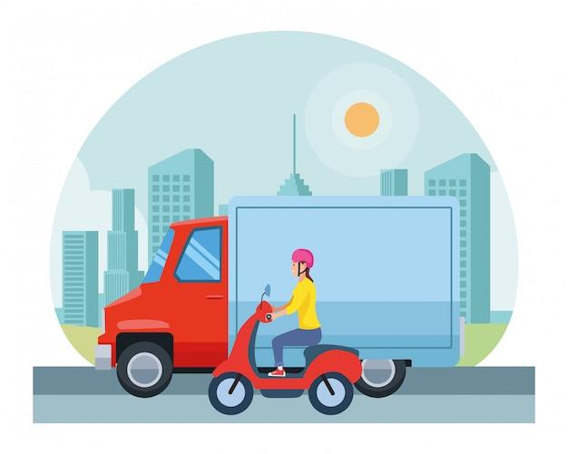 Veicolo e moto con guidatori in sella