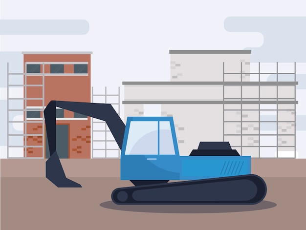 Veicolo escavatore in costruzione