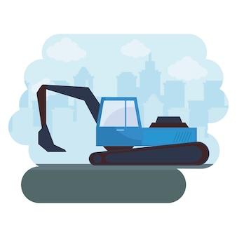 Veicolo in costruzione dell'escavatore con paesaggio urbano