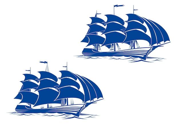 Vela nave in acqua dell'oceano per il viaggio o un altro progetto