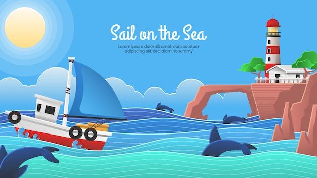 Vela sul mare con sfondo stile bambini