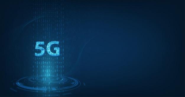 Velocità dati di connessione di innovazione ad alta velocità della rete globale, 5g incandescente creativo su sfondo di colore blu scuro
