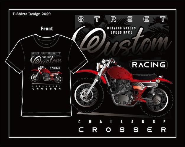 Velocità di abilità di guida, disegno dell'illustrazione di tipografia del motociclo di vettore