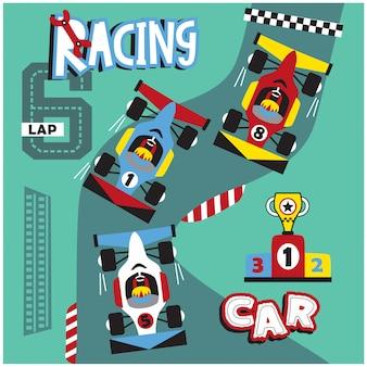 Velocità di corsa nel circuito divertente cartone animato, illustrazione vettoriale