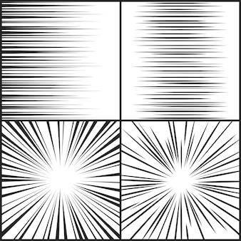 Velocità linee movimento striscia manga fumetto orizzontale