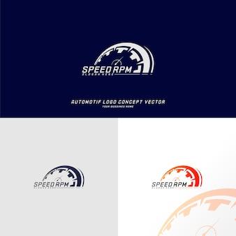 Velocità logo design vettoriale. modello di progettazione logo tachimetro veloce. simbolo dell'icona